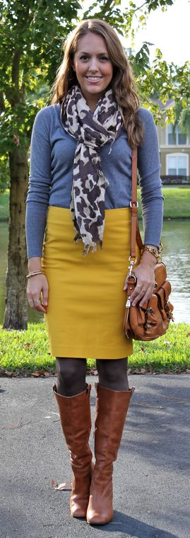 yellow pencil skirt brown boots tights gray top
