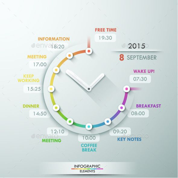 Infographic Timeline Template With Clock #design Download: http://graphicriver.net/item/infographic-timeline-template-with-clock/11251582?ref=ksioks