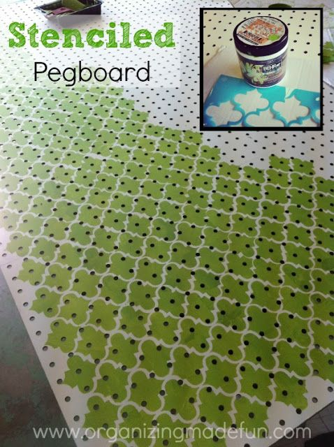 Stenciled pegboard - perfect for covering ugly walls and pipes while maximizing storage. Want to do this in the laundry room