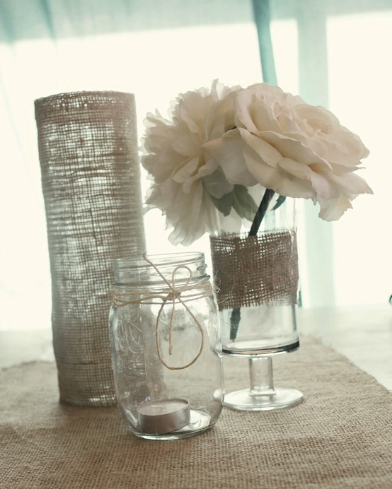 Simple elegant wedding reception centerpieces burlap for Mason jar wedding centerpiece ideas