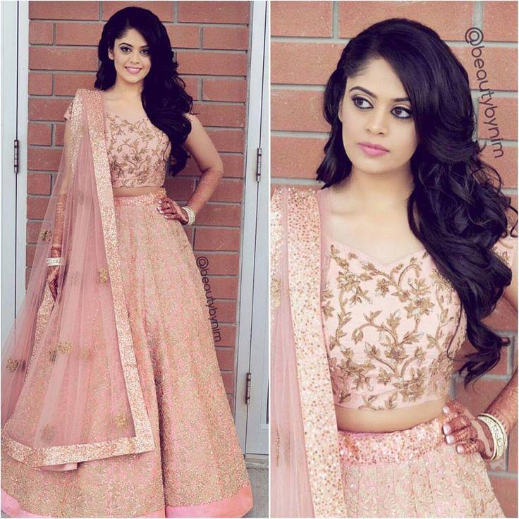 The perfect modern day bride attire, in blush pink. #pink #lehenga #pinklehenga #shyamalbhumika