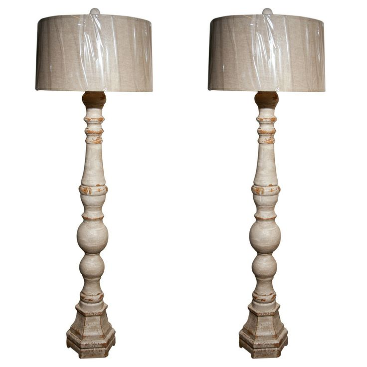 Pair of swedish tall standing lamps w shades 1stdibs com