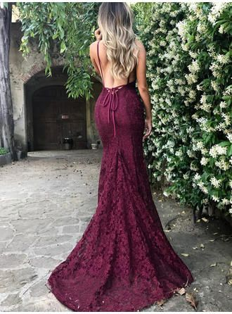 6d71db239a2 Trumpet Mermaid V-neck Court Train Lace Prom Dress (018145977) - lalamira