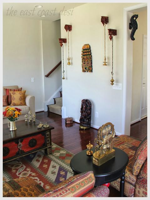 hang brass bells or lamps. where to find those wooden carvings? My Dream Canvas: Sruthi's Eclectic Home in Virginia
