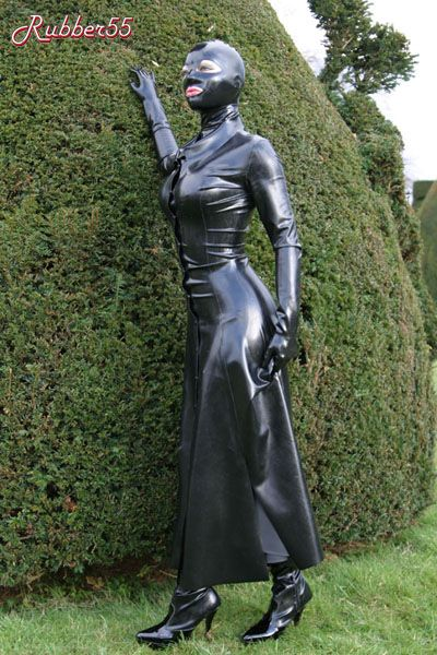 Full Length Rubber Coat With A Figure Hugging Cut Fetish