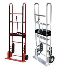 Turn Handle Operation Appliance Dolly, Hand Truck Dollies. These carts are ideal for moving large, bulky and heavy appliances and awkward loads. A strap and tension bar is included with this unit to hold the product in place while transporting up or down stairways, hills or uneven surfaces. The lightweight aluminum Appliance Cart is ideal for moving items up and down stairways.