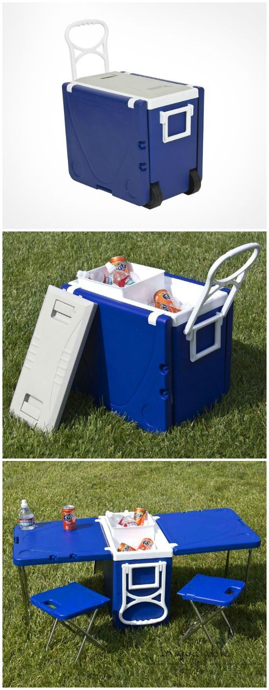This Multi Functional Cooler is perfect for a trip to the beach or park. The sides unfold to create a perfect picnic table and includes two folding stools.