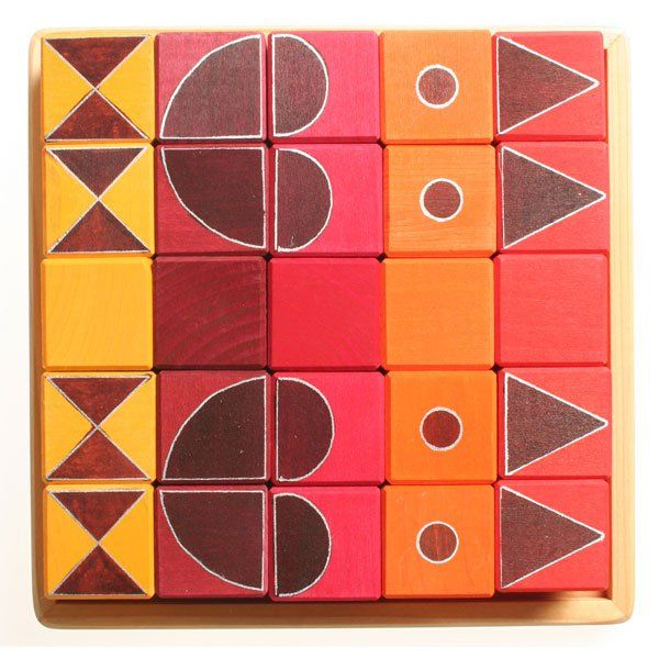 Grimm's Κύβοι Κατασκευών Γεωμετρικά Σχέδια Πορτοκαλί Κοκκινο - Sunnyside