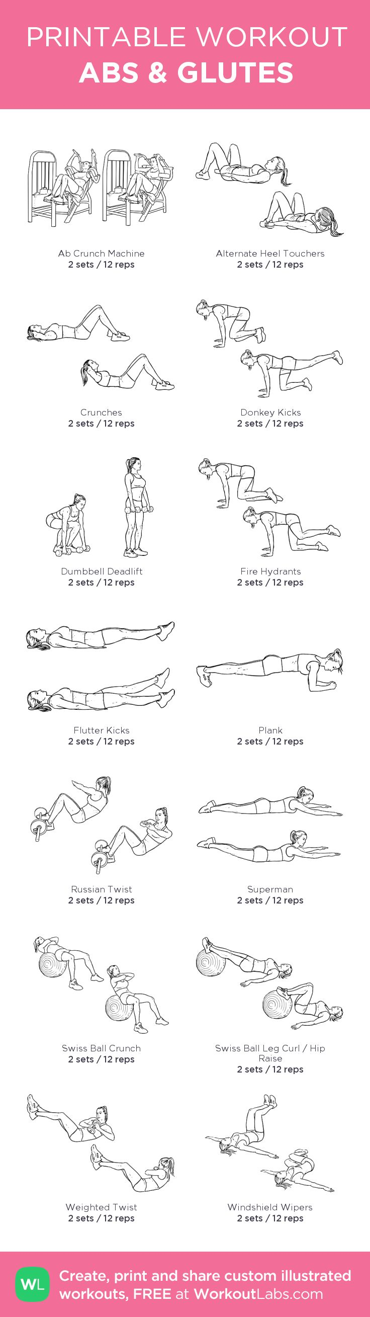 ABS GLUTES: my custom printable workout by @WorkoutLabs #workoutlabs #customworkout