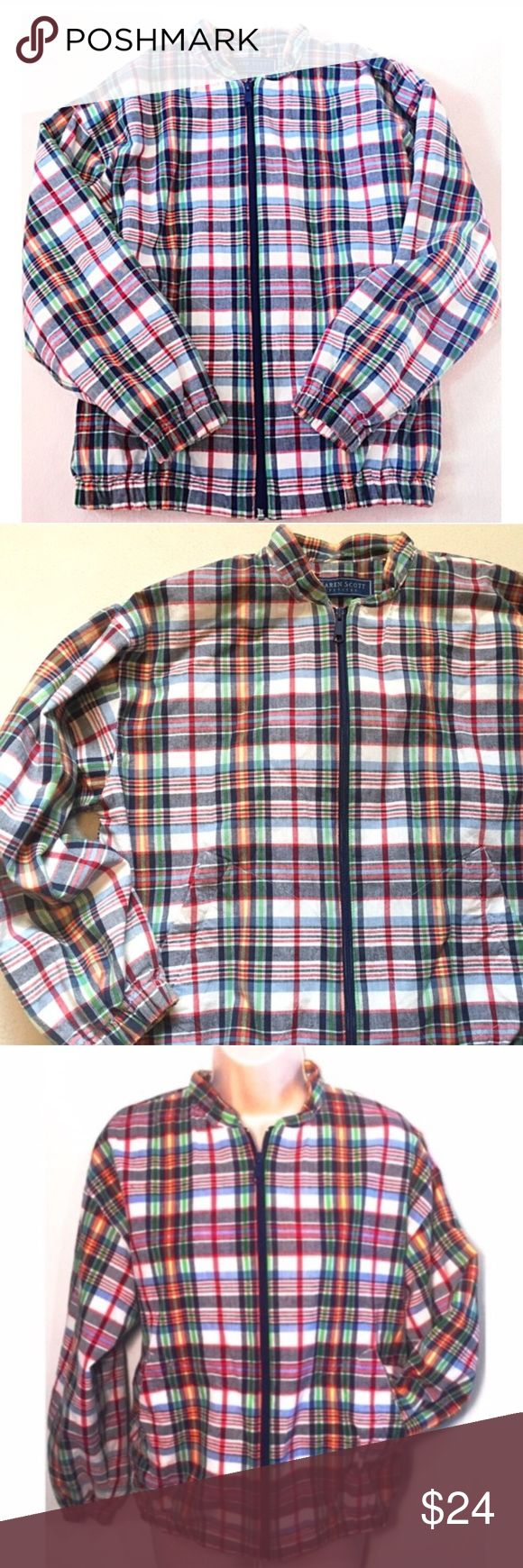 "❣BOGO 1/2 off❣🆕Plaid cotton bomber jacket Flawless condition (washed once but never worn). Hues of white, navy, orange, green. Lighter weight, not at all heavy. 100% cotton, fully lined. 2 front pockets. Labeled petite small but fits a regular extra small. Measures 25"" long, 22"" flat across chest, 19"" sleeves, & 35"" stretch elastic bottom opening. 🔴Bundle likes for a private offer! 🔴NO TRADES, no modeling. 🔴REASONABLE offers welcome via offer button.  ⭐️I had a hard time photographing…"