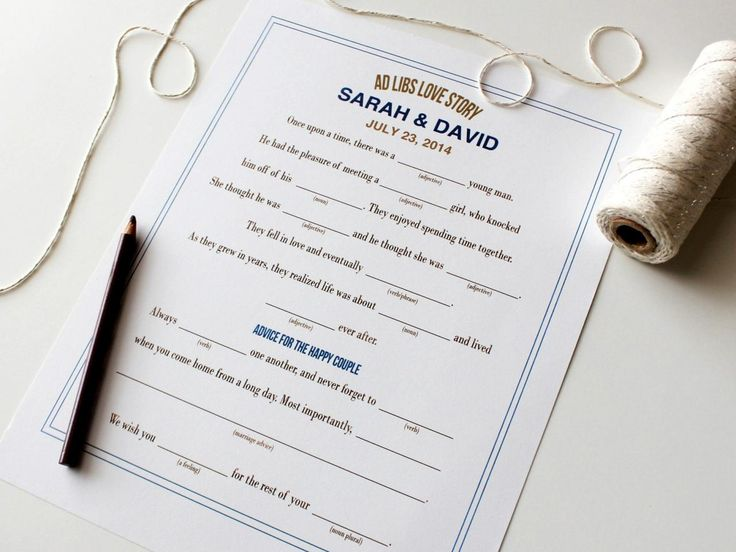 Wedding Ad Libs >>> http://www.diynetwork.com/how-to/make-and-decorate/entertaining/fun-wedding-ad-lib-games-pictures/?soc=pinterest