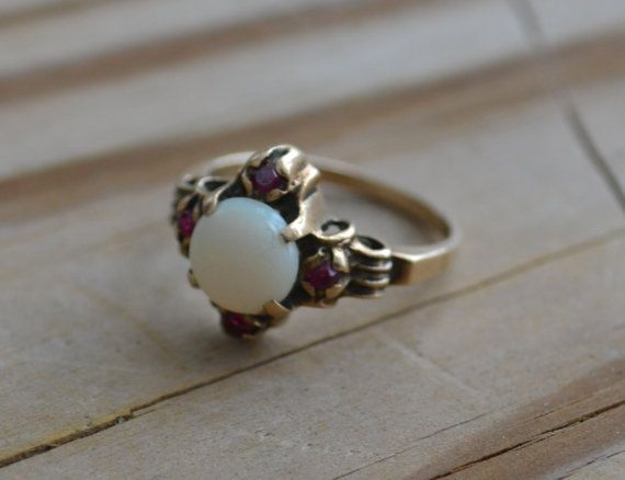 Beautiful antique victorian 10k gold ring with opal and garnets / engagement ring / etruscan / neoclassical / wedding