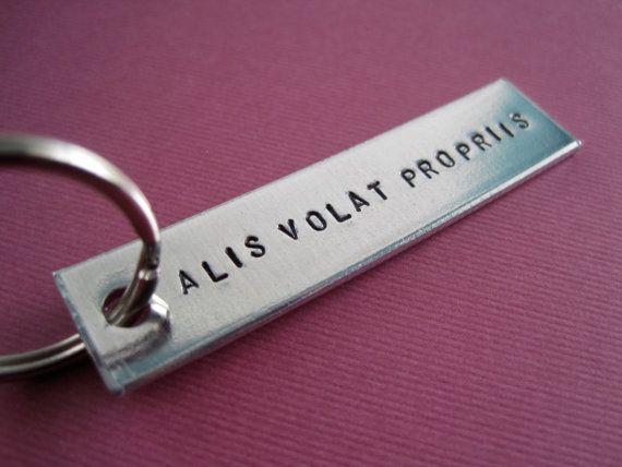 Personalized Keychain  ALIS VOLAT PROPRIIS  latin by TesoroJewelry, $9.00