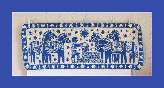 Swedish Vintage Fabric Printed Dala Horses // Blue Fabric