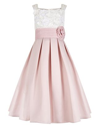 She'll be the belle of the ball in our Enola dress for girls, crafted with a fitted cream lace bodice with hand-embellished flower appliqués, and a full, pleated pale pink skirt that's ideal for dance floor twirls. This pretty piece is cinched with a wide waistband and a 3D corsage, and finished with an oversized bow on the reverse. Features a back keyhole button detail and a side zip fastening.