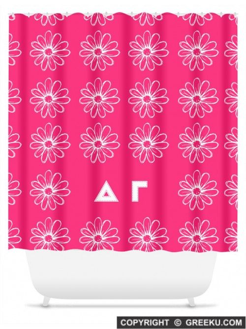 Sorority Daisy Pattern Hot Pink Shower Curtain | Free Shipping. Order for your sorority (shown in Delta Gamma)! ** Also comes in other designs. Shop now! http://www.greeku.com/sorority/merchandise/home-decor/shower-curtains/daisy-pattern-hot-pink-shower-curtain/