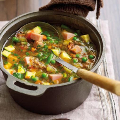 Hearty ham, lentil and vegie soup