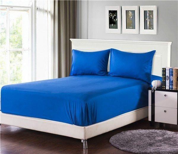 Tache Cotton Deep Blue Bed Sheet set (Fitted Sheet)