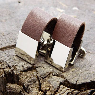 Wrap Around Brown Leather Cufflinks