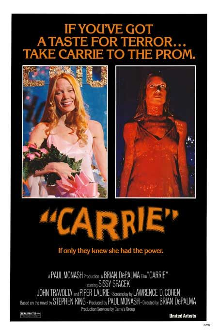Carrie--saw this at the drive in when I was in 7th or 8th grade. Scared the crap out of me