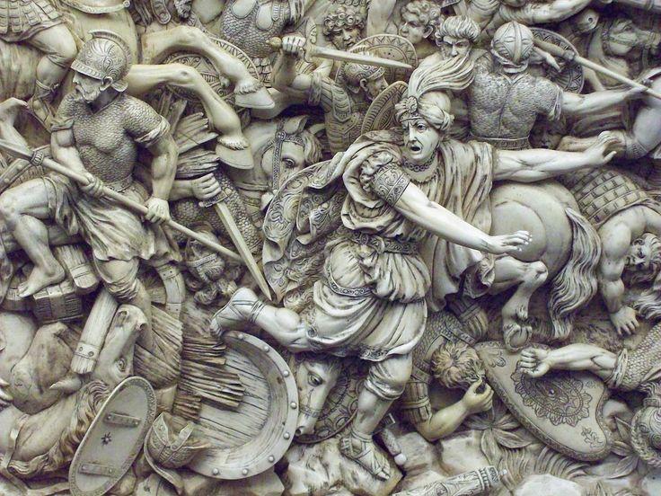 Batalla de Gaugamela (M.A.N. Inv.1980-60-1) 02 - Battle of Gaugamela - Wikipedia, the free encyclopedia - Darius flees from a united Greek army under Macedonian hegemony
