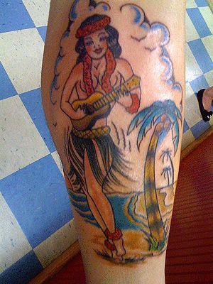 Hawaiian pin up girl tattoo