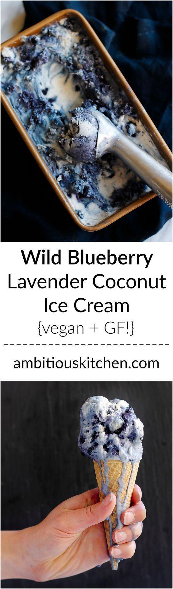 Wunderschönes veganes Kokoseis mit einem Hauch von Lavendel und einem Hauch von wildem Blau …