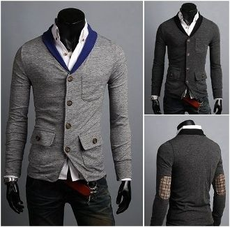 Men's V-Collar Cardigan with Plaid Elbow Patch