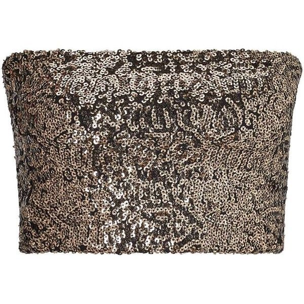 Miss Selfridge Gold Sequin Bandeau Top ($32) ❤ liked on Polyvore featuring tops, gold color, sequin top, gold sequin tops, brown top, miss selfridge tops and fitted tops