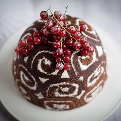 Gordon Ramsay's best Christmas Recipes  Filled with a creamy ice cream this impressive looking dessert is a great alternative to the traditional Christmas pudding. The combination of chocolate-y Swiss roll and sweet filling is delicious and, best of all, it can be made well in advance and kept in the freezer for up to a month.  Try Gordon Ramsay's Christmas bombe recipe