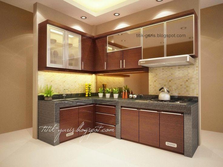 desain dapur cokelat mungil kaca