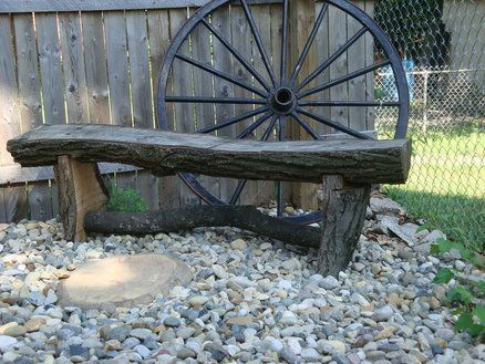 Rustic Garden Ideas | rustic oak log garden bench - by BobO @ LumberJocks.com ~ woodworking ...