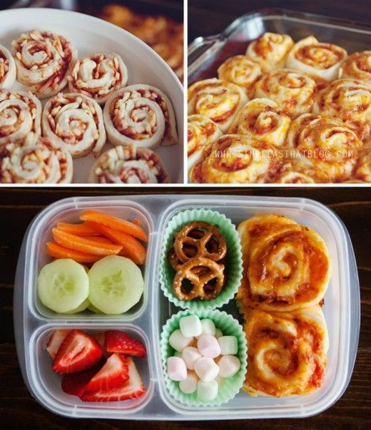 Pizza buns! Also like the idea of using silicone muffin cups to separate snacks; pretty colors. Tip: make it one whole thing, then cut it up!