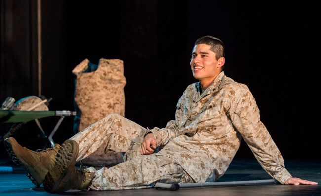 """Mainstream L.A. Theatres To Translate In Spanish - http://www.anythingla.com/mainstream-l-a-theatres-to-translate-in-spanish/ - [caption id=""""attachment_10639"""" align=""""aligncenter"""" width=""""650""""] Peter Mendoza in """"Elliot, A Soldier's Fugue"""" at Center Theatre Group's Kirk Douglas Theatre. Directed by Shishir Kurup and written by Quiara Alegría Hudes, """"Elliot, A Soldier's Fugue"""" will play through February 25, 2018. For tickets and information, please visit CenterThea"""