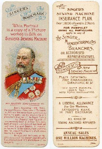 Singer Sewing Machine Bookmark -  King Edward VII - 1901
