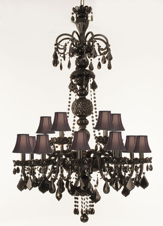 A46-SC/BLACK/590/15 - JET BLACK CRYSTAL CHANDELIER WITH SHADES