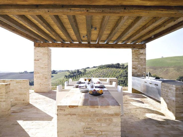 Modern Italian Farmhouse - Outdoor Kitchen & Dining | Amazing Kitchens