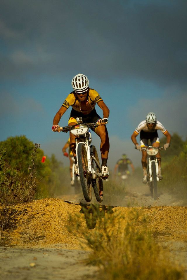 South African Burry Stander catching air at the Absa Cape Epic MTB Race