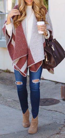 #fall #outfits / poncho + denim