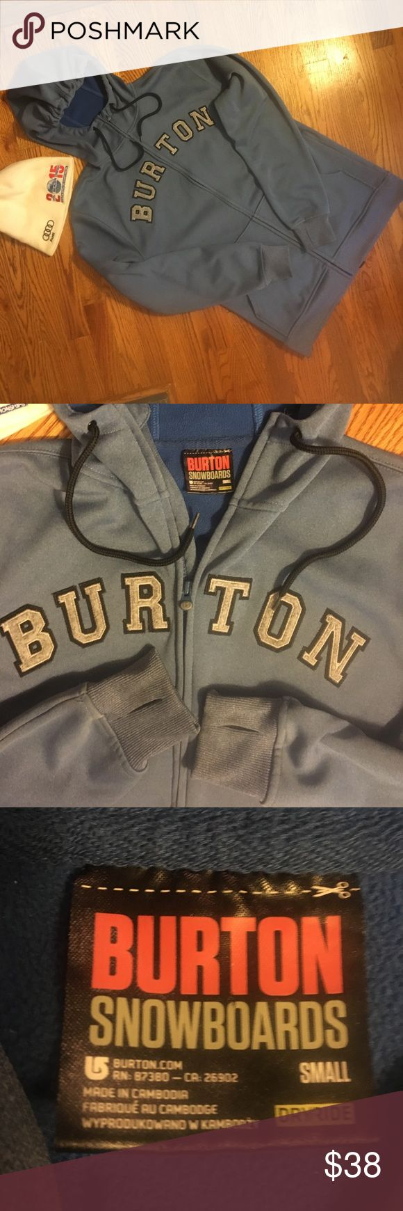 """Burton Snowboard Hoodie S Men's size small Burton Hoodie. It's in very good condition, it does have some stains on the back, very hard to see, and the left forearm has 2 faint green spots, could be paint. There are 2 front pockets, 2 underarm airflow zippers, the wrists have the thumbholes. The inside is like fleece, 3 snap closures in the waist, you can attach things or hold up your pants, the jacket is 100% polyester. Great jacket! Armpit to armpit 20"""" length 28"""" sleeve 27"""". Burton Jackets…"""