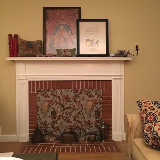 Decorative fireplace covers look great insulated - Ideas to cover fireplace opening ...