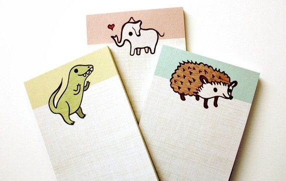 Pink ELEPHANT NOTEPAD by boygirlparty retro by boygirlparty
