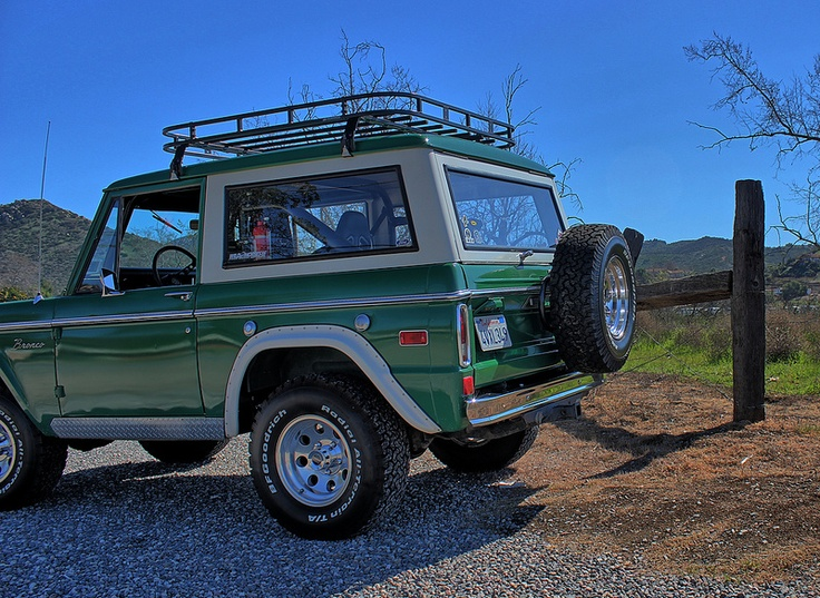 Green Early Bronco With Roof Rack