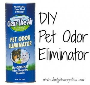 DIY Pet Odor Eliminator   Have pet smells you can't seem to get rid of? Here's a cheap and easy fix!  Put two parts water and one part mouth wash into a spray  bottle  Spray desired area  Place newspaper over the sprayed area  If the newspaper doesn't absorb the smell, repeat the process
