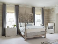 Lichten Craig Architects - Gorgeous gray & purple bedroom with taupe paint color, textured wallpaper, lilac curtains flanking fretwork lattice bed, linen, skirted tables nightstands, crystal lamps, platinum gray shams and white hotel bedding with gray stitching.