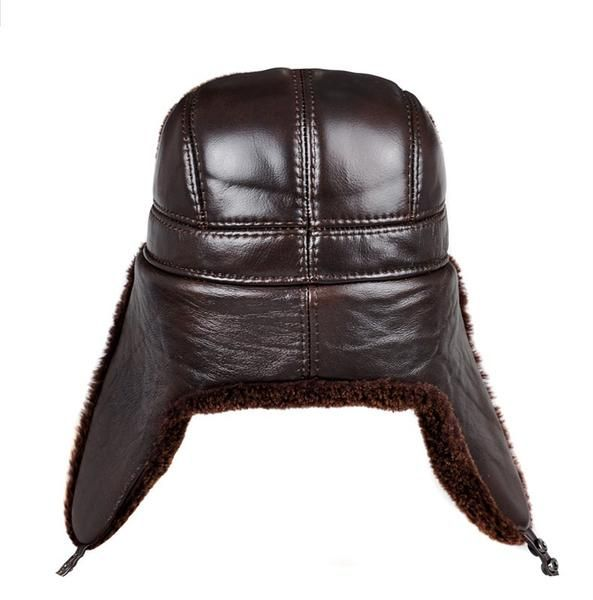 Men genuine leather Bomber hats with earlflap Russian winter Faux  fur Earmuffs caps