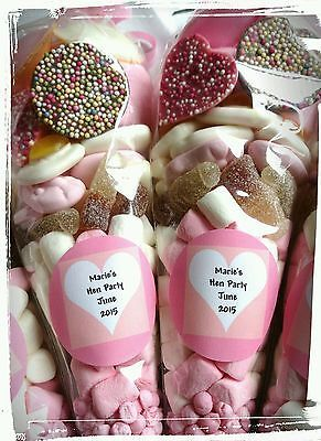 Pre filled large wedding favour hen party sweet cones party bags PERSONALISED