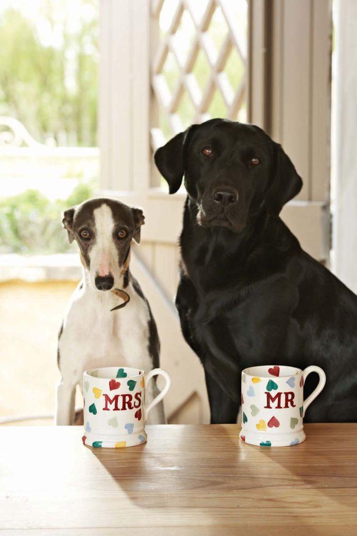 Emma Bridgewater Polka Hearts Mr & Mrs Boxed 1/2 Pint Mugs Set