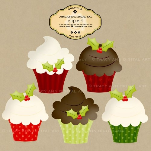 Christmas Cup Cakes - Clip Art