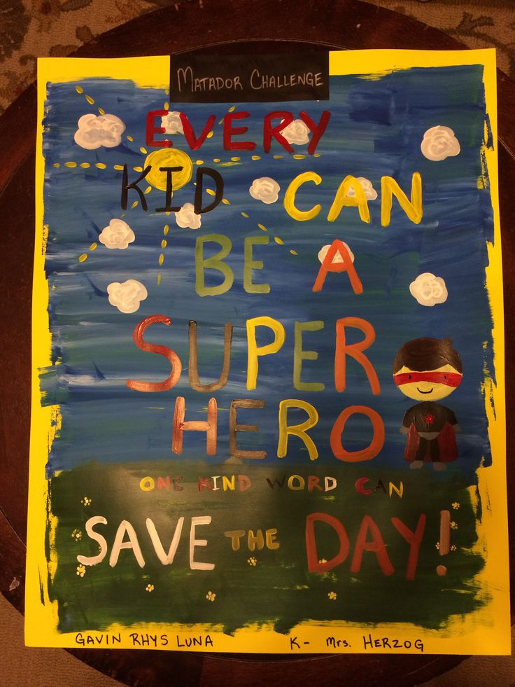 Elementary Super Hero Classroom Ideas ~ Anti bullying poster every kid can be a super hero one
